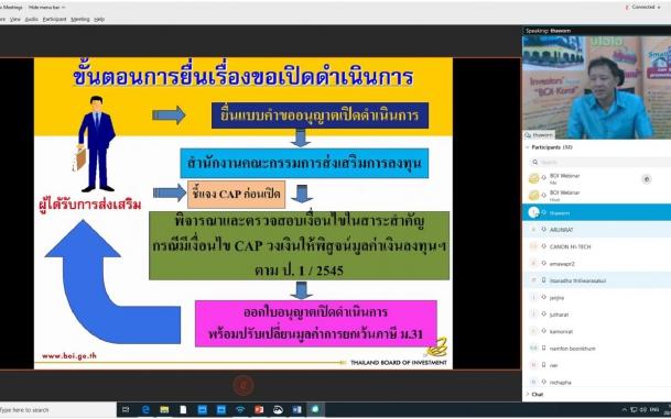 """ภาพกิจกรรมการจัดอบรมออนไลน์ในหัวข้อ """"Work  Shop การเปิดดำเนินการตามโครงการที่ได้รับการส่งเสริมการลงทุน"""" ในวันที่ 20 สิงหาคม 2563"""